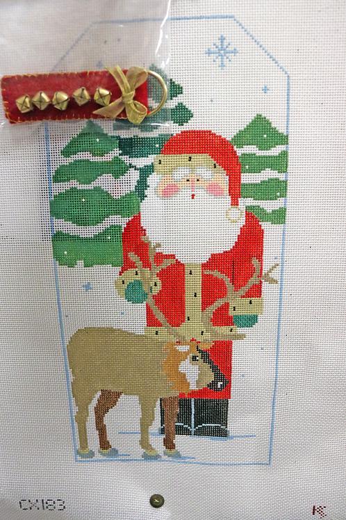 """11.5"""" x 5.5"""" Santa with Deer by KK"""