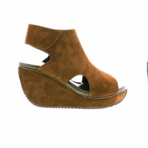 Volatile Brown Suede Ankle Strap Platform Wedges
