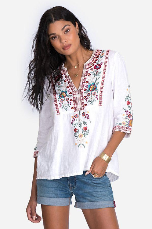 Linen White Embroidery Top