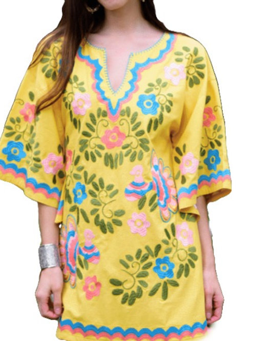Fun Yellow Dress with Embroidery