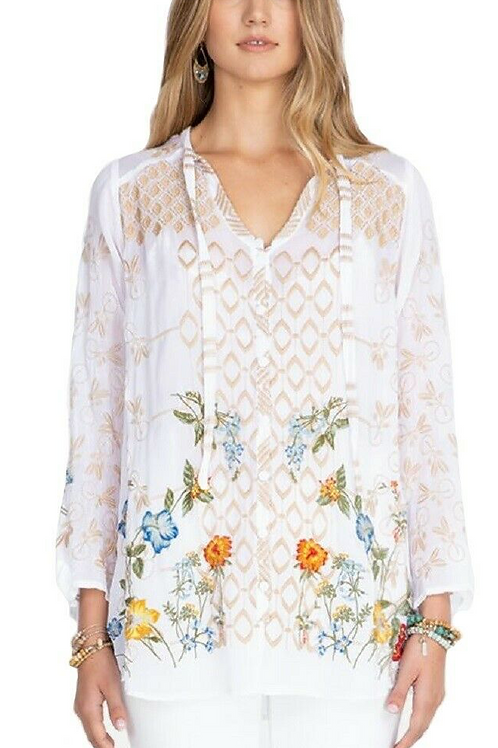 Johnny Was White Embroidery Top