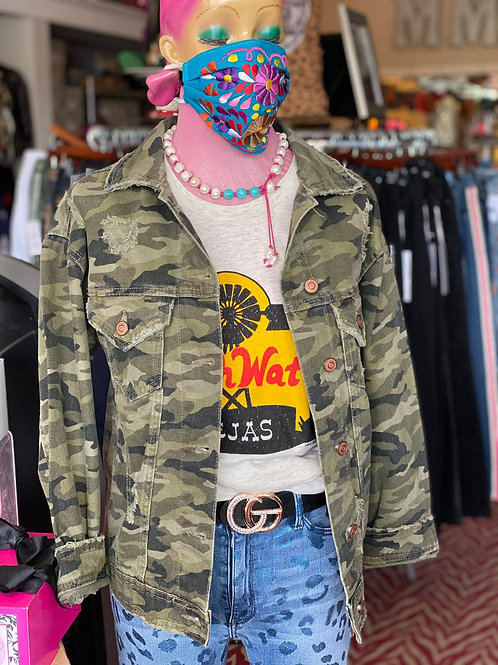 Camo Denim Jacket with Pockets