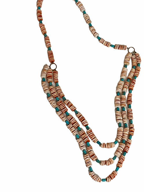 Three Strand Spiney Oyster Necklace Turquoise