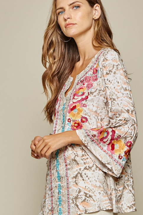 Blush Snake Print with Embroidery Bell Sleeve Top