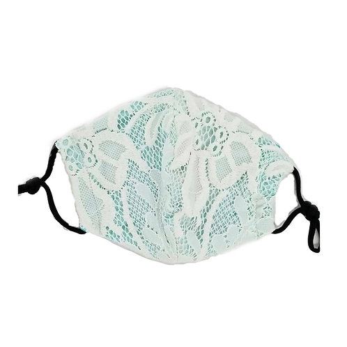 White Lace with a Hint of Mint ~ Double Layer with insert Mask