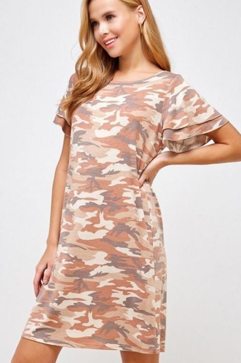 Camo Dress with Ruffle Sleeve
