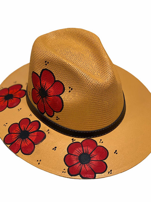 Red Floral Straw Hat