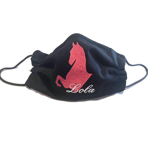 Limited Edition Embroidered Black Lola Face Mask, Cotton