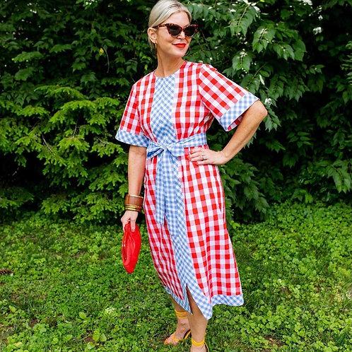PRE-ORDER ~ Red & Sky Blue Maxi Dress