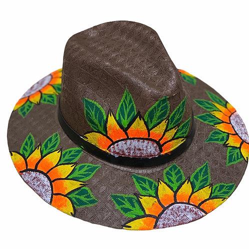 Sunflower on Dark Brown Straw Hat