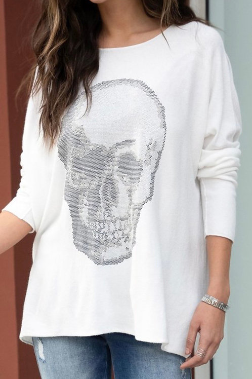 White Skull Rhinestone Long Sleeve Top