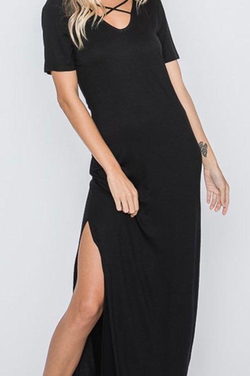 Criss Cross Maxi Black Dress