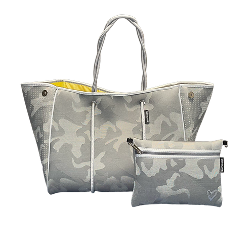 Light Camo Tote with Clutch