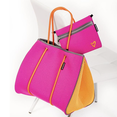 Hot Pink & Orange Tote with Clutch