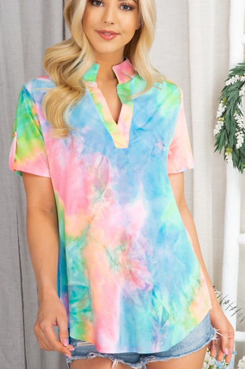 Neon Tie Dye Top With Button Detail