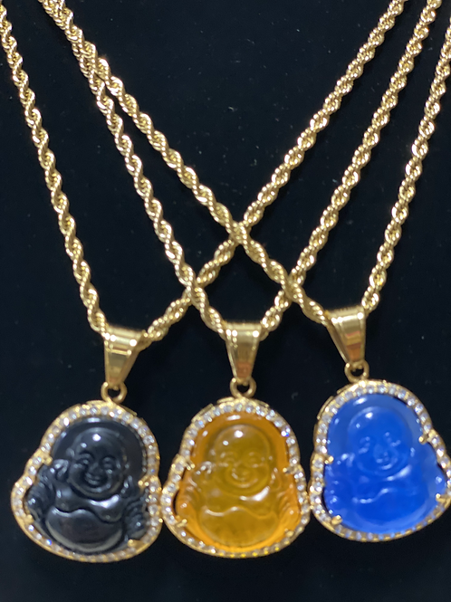Buddha Necklace with Chain & Crystal ~22 inch