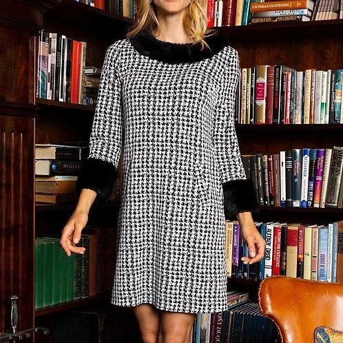 Tyler Boe Snake Print Dress with Faux Fur