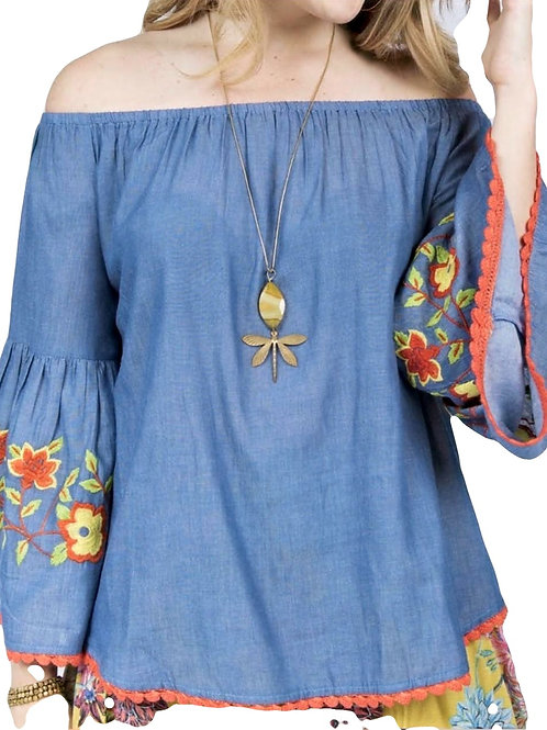 Denim On & Off the Shoulder Top with Embroidery Ivy Jane