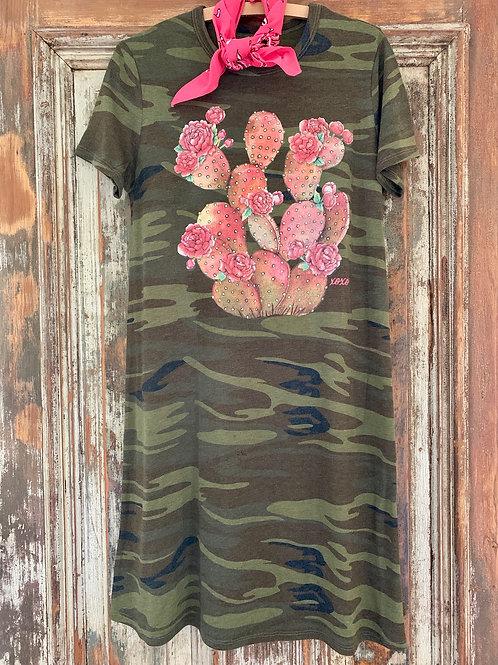 Peony Cactus Camo Dress
