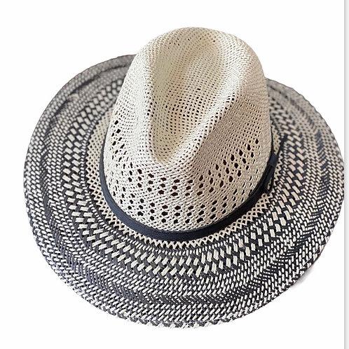 Ivory with Black Trim Straw Hat