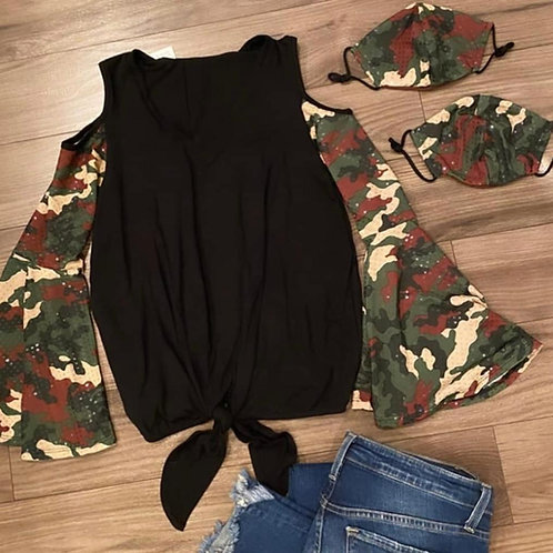Cold Shoulder Camo Sequin Top with Matching Mask