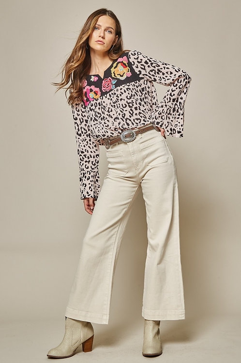 Leopard Long Sleeve with Embroidery