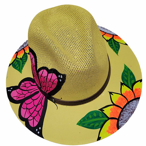 Pink Butterfly Straw Hat