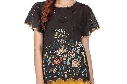 Black Embroidered Floral Top