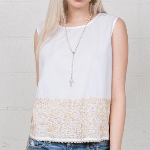Sister Mary ~ SHIRT ~ Cotton ~ White with Embroidery Detail