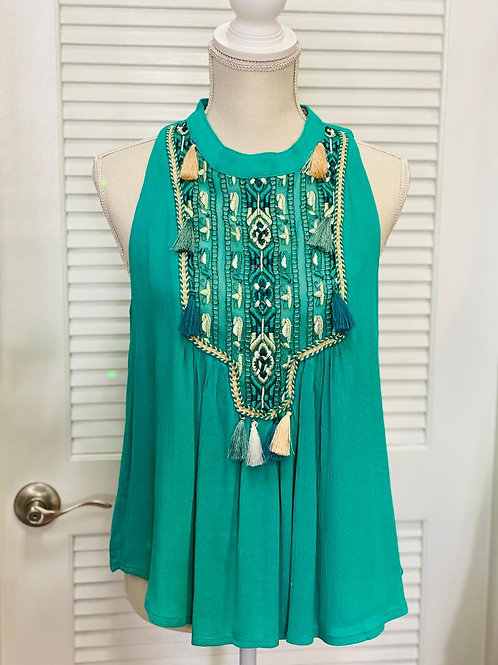 Emerald Green with Tassels