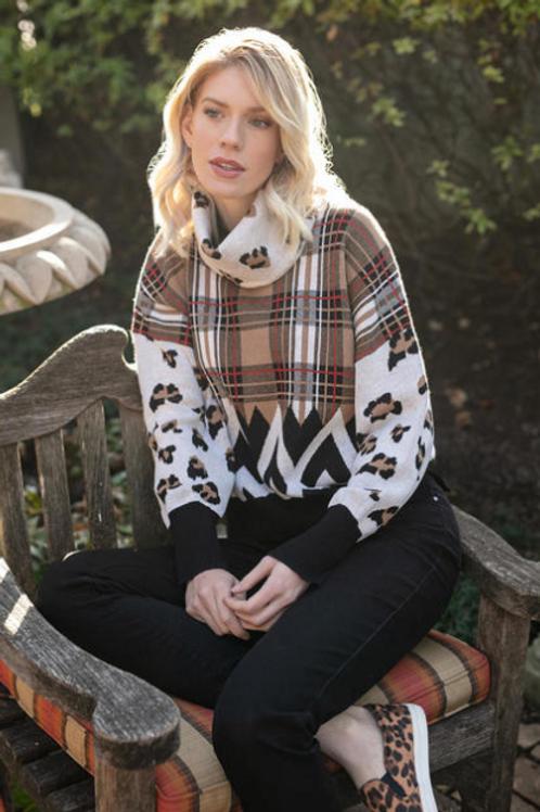 Plaid & Leopard Sweater with Detachable Cowl Neck