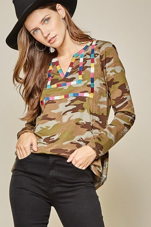 Camo Top with Embroidery Long Sleeve