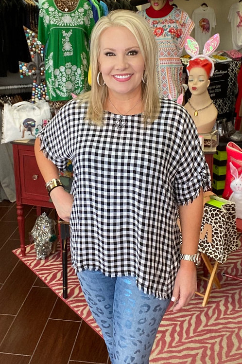 Black & White Checked Top with Button Detail