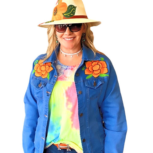 Denim Stretch Jacket Floral Embroidery