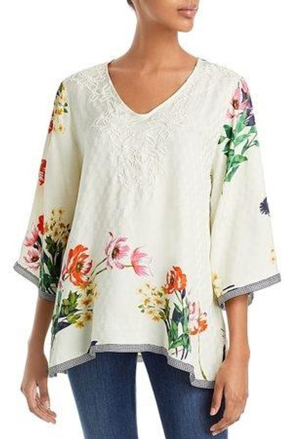 Johnny Was Floral Ivory Top Embroidery