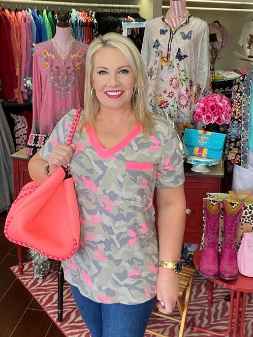 Neon Pink Camo T-Shirt
