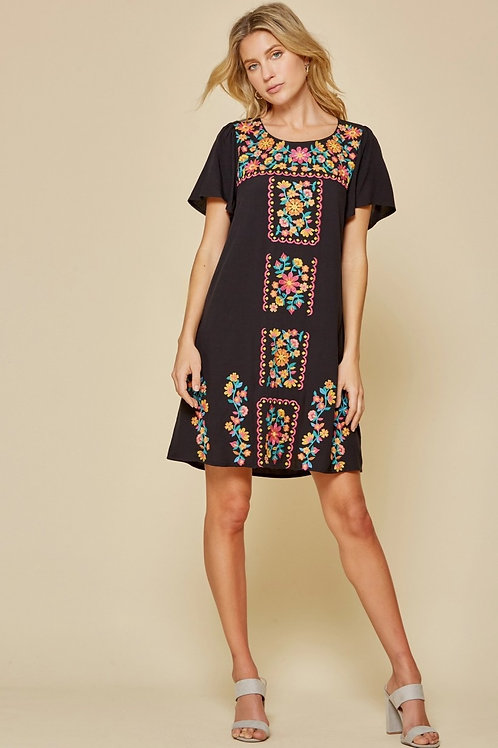 Embroidery Floral Dress ~ Black