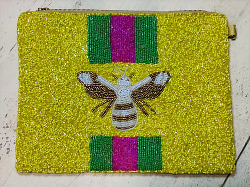 Yellow Beaded Crossbody/Clutch