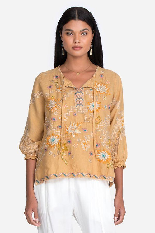 Johnny Was Linen Embroidery Top