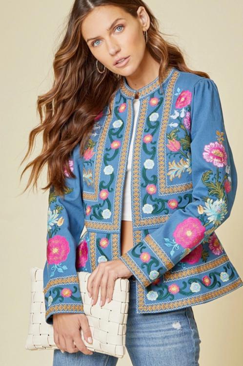 Blue Denim Embroidery Floral Jacket