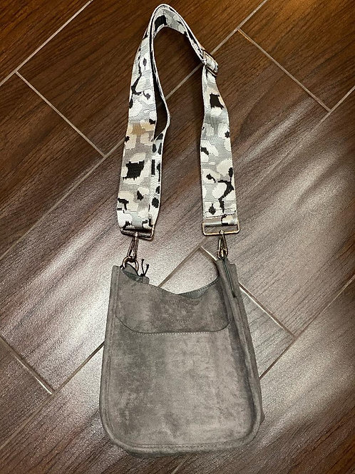 Silver Mini Faux Suede Messenger With Adjustable Web Strap