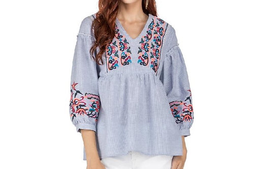 Stripe Blue & White Embroidered Top 3/4 Sleeve