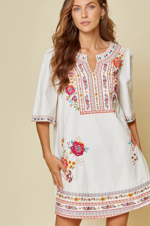 Chard White Floral Embroidery Dress