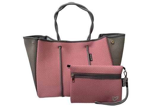 Pink & Grey Tote with Clutch