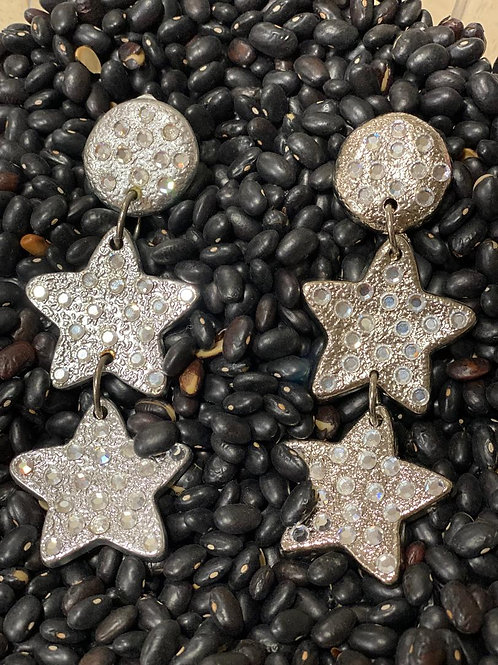Silver Clip Star Earrings with Stones