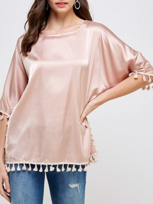 Baby Pink Tassel Top Satin