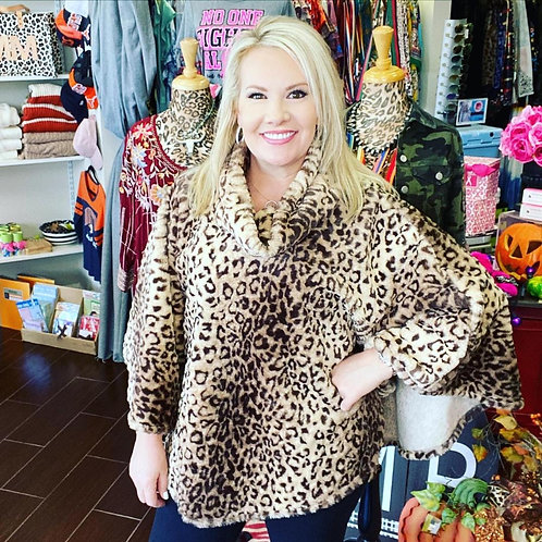 One Size Fits All Leopard Poncho With Pockets Brown