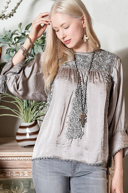 Sister Mary Long Sleeve Embroidery Top Silver