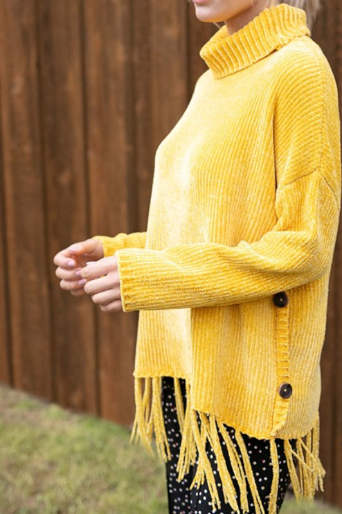 Gold Cowl Neck Chenille Sweater with Fringe
