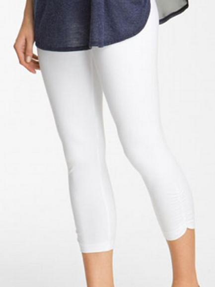 Lysse Ruched Crop Leggings White Cotton